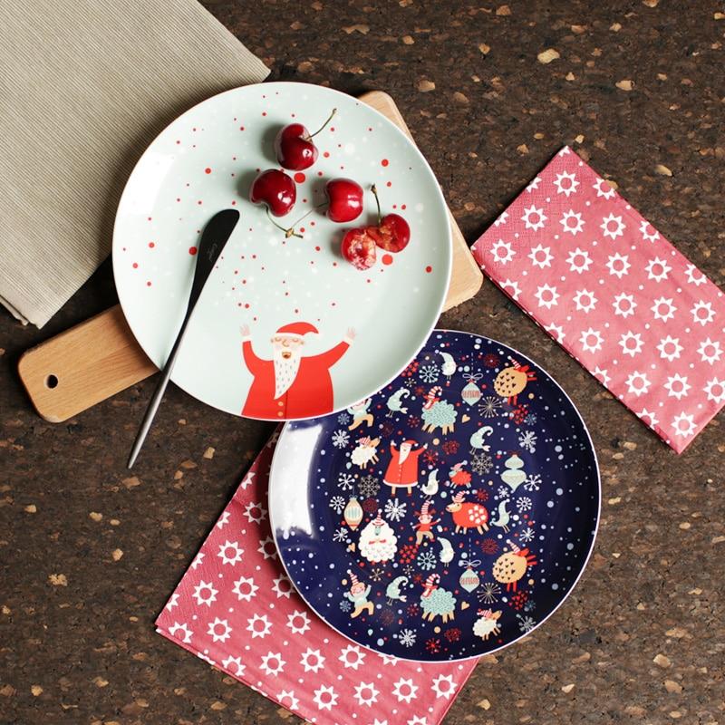 8 Inch Christmas Plate Decorative Dishes Plates Bone China