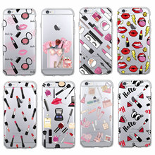 Fashion Sexy Lips Makeup Cosmetics Lipstick Powder Soft Clear Phone Case Fundas For iPhone 11 7