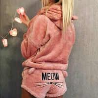 2019 Newly Winter Women Flannel Pajamas Set Bear Hooded Pajamas Winter Warm Coral Fleece Sleepwear Hoodie+Short Tow 2pcs Suit