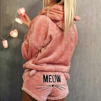 2019 neu Winter Frauen Flanell Pyjamas Set Bär Mit Kapuze Pyjamas Winter Warm Korallen Fleece Nachtwäsche Hoodie + Kurzen Schlepptau 2 stücke Anzug
