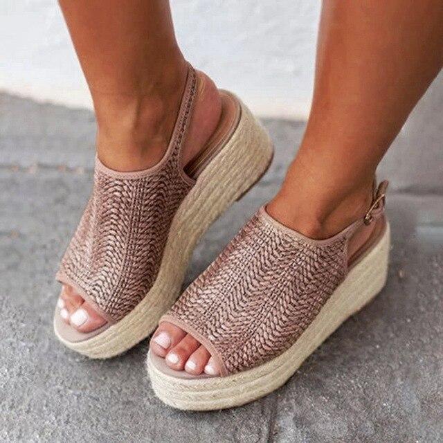 Oeak קיץ נשים קנבוס סנדלי אופנה נשי חוף נעלי עקבים נעלי נעלי פלטפורמה נוחות