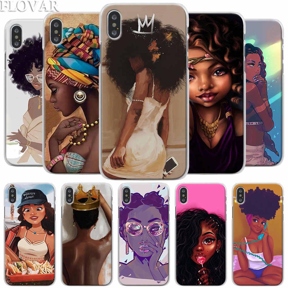 Coque de téléphone avec des images de belles filles afro pour iPhone, étui pour modèle X XR 7 8 plus 6 6s Plus XS MAX 12 11 Pro Max SE,
