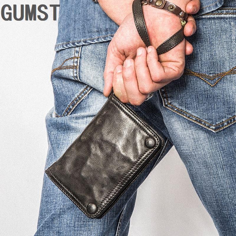 GUMST Handmade Genuine Leather Men Wallets Sheepskin Wallet With Coin Pocket 2019 Short Design Card Holder
