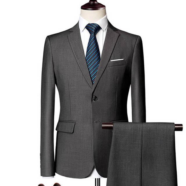 Jacket + Pant / 2018 New Men Business Slim Suits Sets Wedding Dress Three-piece Suit Blazers Coat Trousers Waistcoat M-6XL