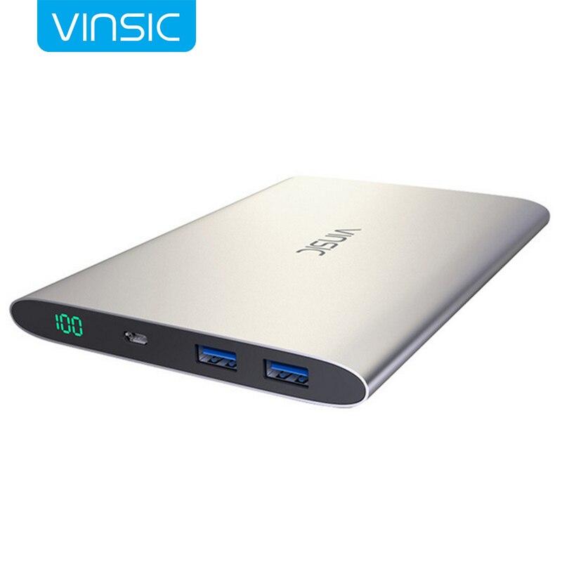 Vinsic Ultra-chargeur portatif fin 20000 mAh Portable externe polymère Batteries téléphone Portable USB chargeur en alliage d'aluminium appauvrbank