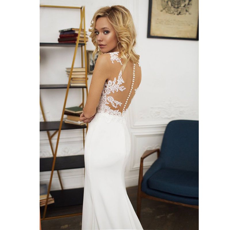 6593869a10 LORIE Boho Wedding dress O-Neck Appliques Lace Mermaid Wedding Gown with  Small Train White Ivory Beach Bride Dress Free Shipping