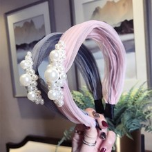 Fashion Full Pearls Hairbands For Women Solid Color Imitation Korean Style Headband Sweet Fold Girls Wide Hair Accessories