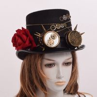 Unisex Steampunk Gears Floral Black Top Hat Glasses Decoration Punk Headwear New