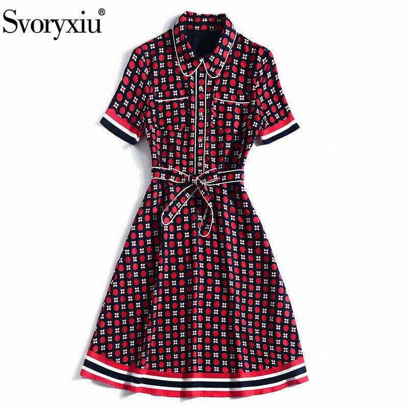Svoryxiu Designer été robe Vintage femmes mode à manches courtes à pois fleur imprimé genou longueur robes Vestdios-in Robes from Mode Femme et Accessoires    3