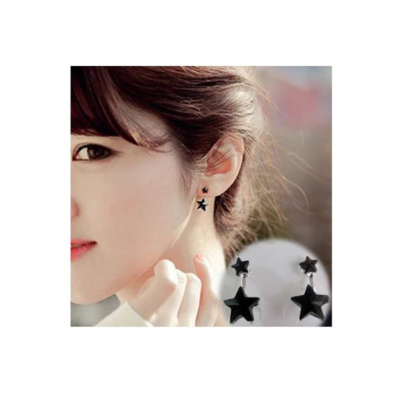 New Arrival Black Five-pointed Shape Clip on earrings Withoug piercing for Grils Cute Korea Style No Hole Ear Clip Jewelry Gifts