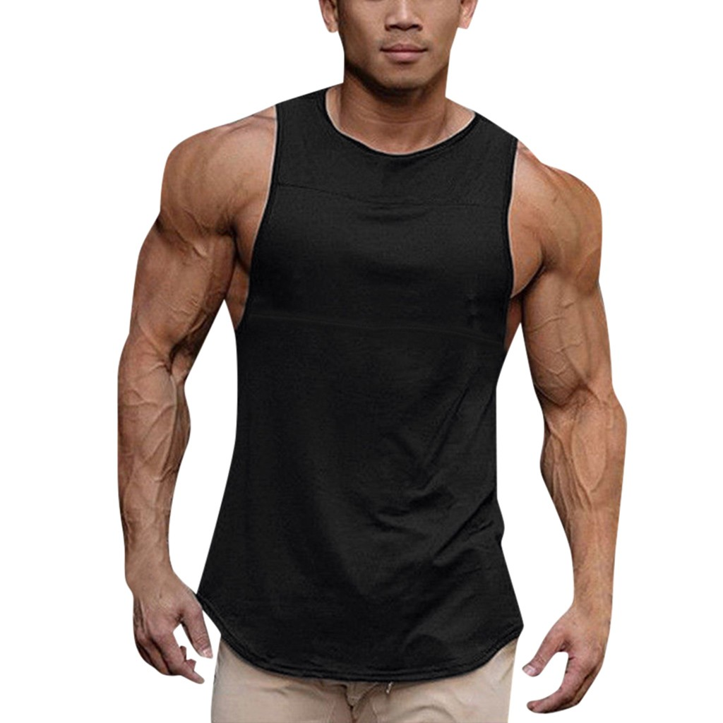 Hot Brand Plain Cotton   Tank     Top   Men Bodybuilding Singlet Gyms Stringer Sleeveless Shirt Blank Fitness Clothing Sportwear TankTop