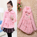 2015 baby girl coat winter style Faux Fur Fleece warm outerwear pearl flower cute baby girl clothes new designer roupas infantis