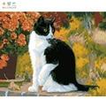 Frameless 그림 숫자로 그림 손으로 그린 캔버스 cuadros 그리기 diy 유화 번호 캔버스 회화 고양이-에서그림 & 서예부터 홈 & 가든 의