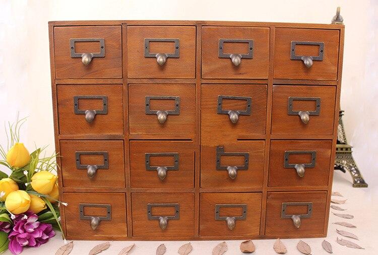 1PC ménage rangement organisation décoration bois Vintage en bois lit mur mallette de rangement tiroir maquillage boîte de rangement JL 0900