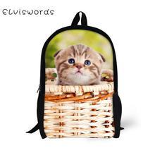 ELVISWORDS School Bags for Kids Adorable Basket Cats Printing Children Backpacks Schoolbag Students Bookbag Orthopedic
