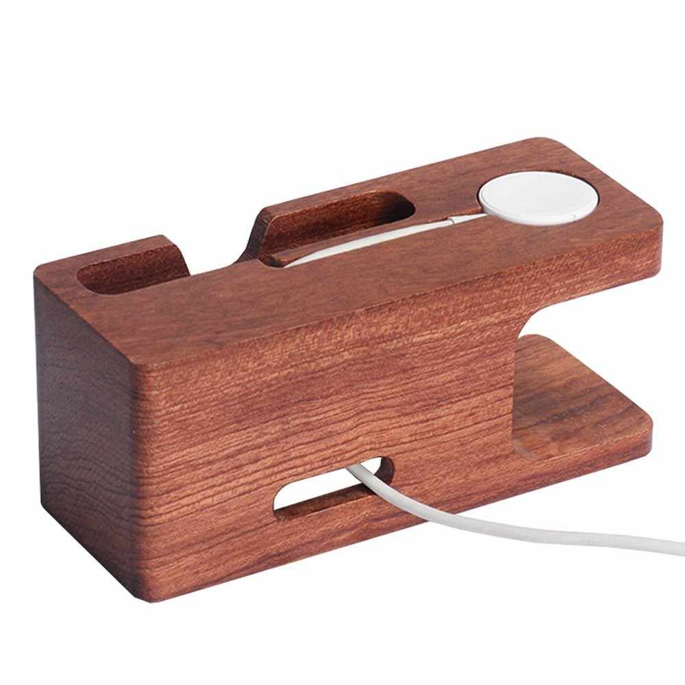 Wooden charging dock station for mobile phone holder stand rosewood charger stand base for apple watch