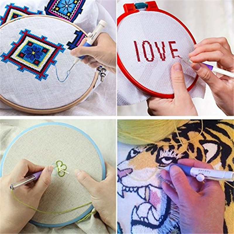 Looen Magic Embroidery Pen Punch Needle Set With 100pcs Threads Embroidery Patterns Punch Needle Kit Craft Tool for DIY Sewing (2)