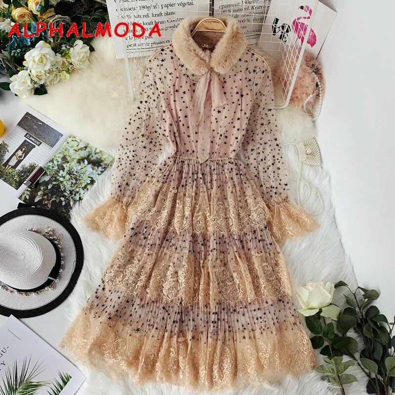 ALPHALMODA 2019 Spring Fur Collar Sweet Bow Stars Print Long-sleeved Multi-layer Women Princess Chiffon Dress + Sling 2pcs Set 1