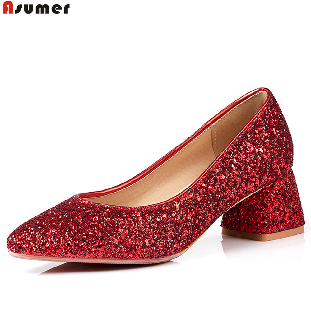 ASUMER red black fashion spring autumn shoes woman pointed tie shallow bling square heel big size 33-43 women highheels shoes 2016 spring and summer free shipping red new fashion design shoes african women print rt 3