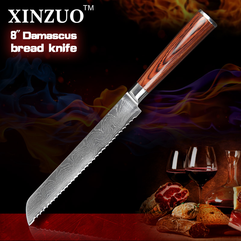 NEW  8 Japanese VG10 Damascus steel kitchen font b knives b font Bread font b