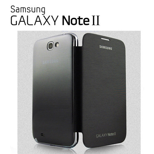 OEM Gray Samsung Galaxy Note 2 N7100 Flip Cover Case + Screen Protectro