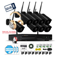EINNOV 8CH CCTV 1080P NVR 8PCS 2MP Wireless Security Camera System IR Outdoor Weatherproof Home Security