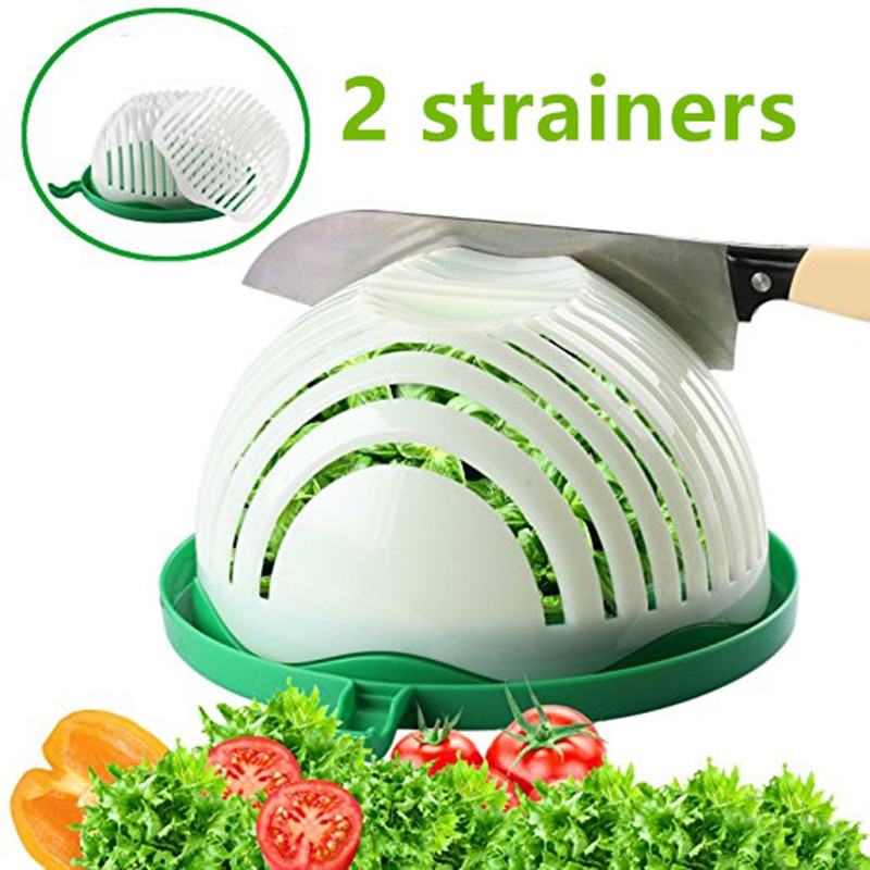 2 Strainers UPGRADED NEW 60 Seconds Salad Cutter Bowl Easy Salad Maker Kitchen Tools Fruit Vegetable Cutter