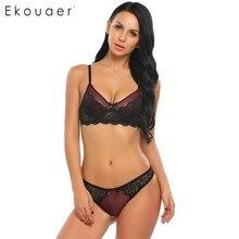 Ekouaer Brand Sexy Lace Bra Set Women Fashion Spaghetti Strap Underwire Lace Patchwork Bra Underwear Set Bow tie Push Up Bra