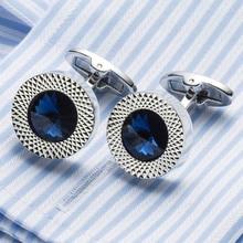 High Quality Men's Cufflink Silver Plating Blue Crystal Round Men's Shirt cuff links Wedding cuffs 389