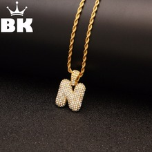 Alloy Bling Bubble Letters Pendant Iced Out Rhinestone A-Z Initial Pendant Gold Silver Rose Gold Color Charm Pendant Necklace