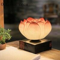 Новые творческие китайское искусство Ретро лотоса гостиная лампы тумбочка спальня теплый декоративные лампы Бесплатная доставка