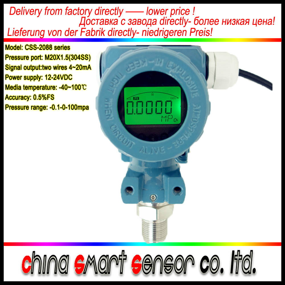 Industrial Ex-proof 2088 Diffused Silicon Smart Pressure Transducer 4 to 20mA LCD Display Pressure Transmitter Free Shipping free shipping 0 10bar 10 30vdc g1 4 4 20ma output 0 5% pressure transmitter pressure transducer sensor