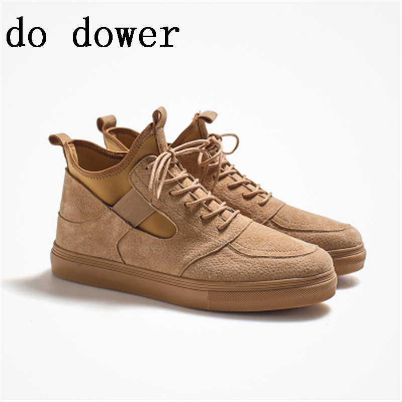 Spring New Hot Men Casual Shoes Luxury Trainers Tide Summer Male Leather Patchwork Ankle Casual Shoes Lace-up Platform Sneakers new men genuine leather shoes luxury trainers summer male adult shoes casual flats solid spring black lace up shoes