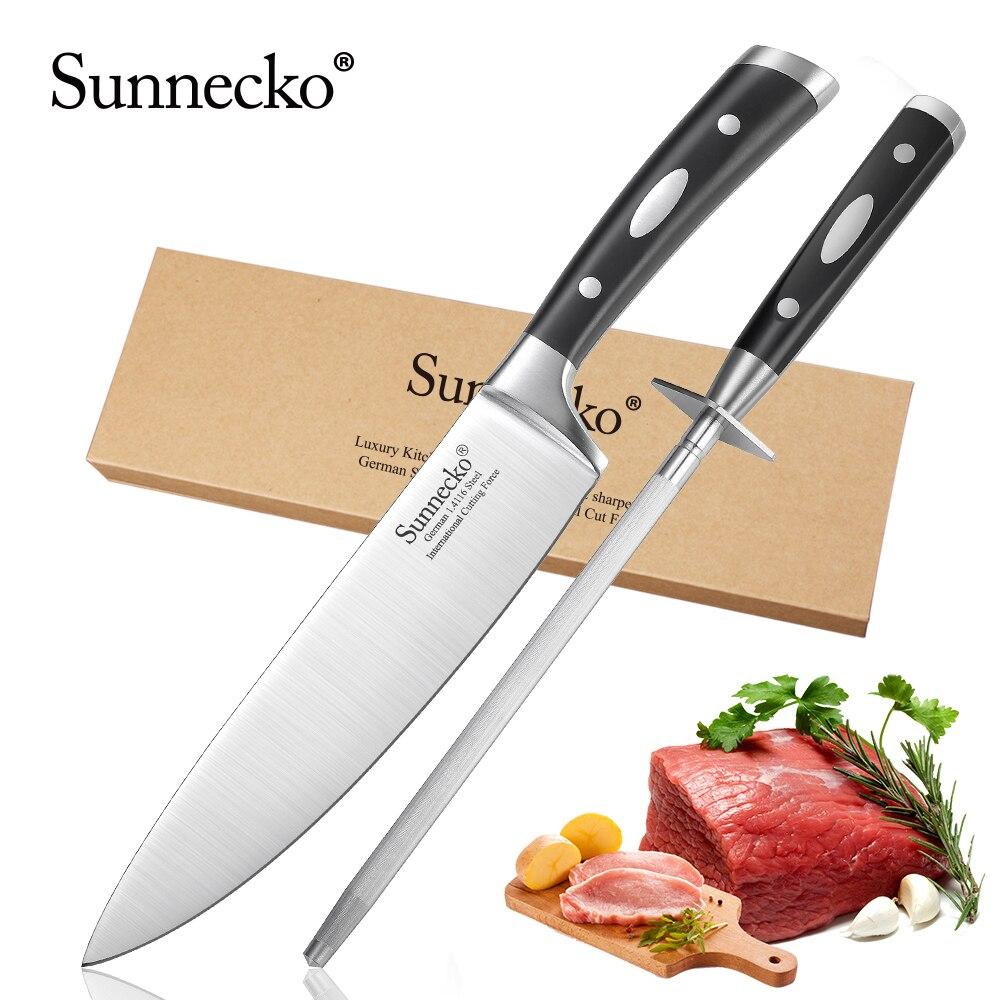SUNNECKO Professionelle 8,5 ''Chef Messer 1,4116 Stahl Scharfe Klinge Schwarz ABS Griff Chef Messer Spitzer 2 PCS Küche Messer set-in Messer-Sets aus Heim und Garten bei  Gruppe 1
