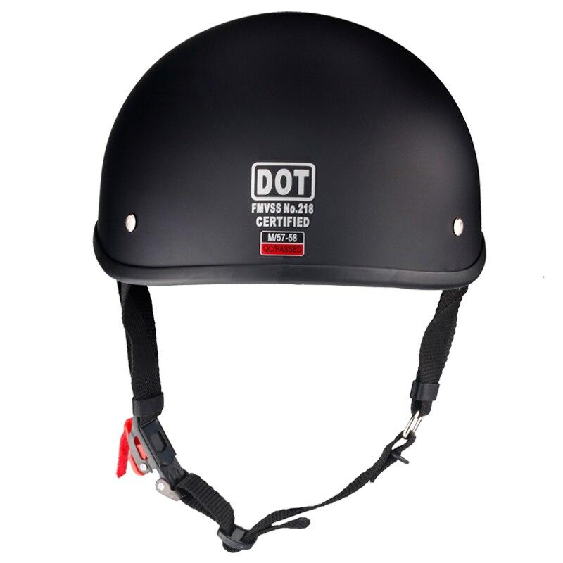 Винтажный мотоциклетный шлем Half Face в стиле ретро, немецкий каст, кафе-гонщик, скутер, крейсер, чоппер, матовый черный, подкладка из EPS, в горош...