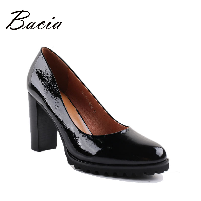 Bacia Genuine Leather shoes Women Round Head Pumps Sapato feminino High Heels Patent Leather Fashion Black Party Shoe 2017 VA010 genuine cow leather female women s 10cm heels pumps round toes black beige quality female pr354 wedding party work pumps shoe
