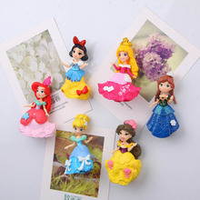 Princess Fridge Magnets 3d People Souvenir Mermaid Snow White Aisha PVC Magnetic Sticker Kids sticker Decora