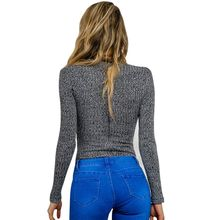 Charcoal lace up fall spring knitted top