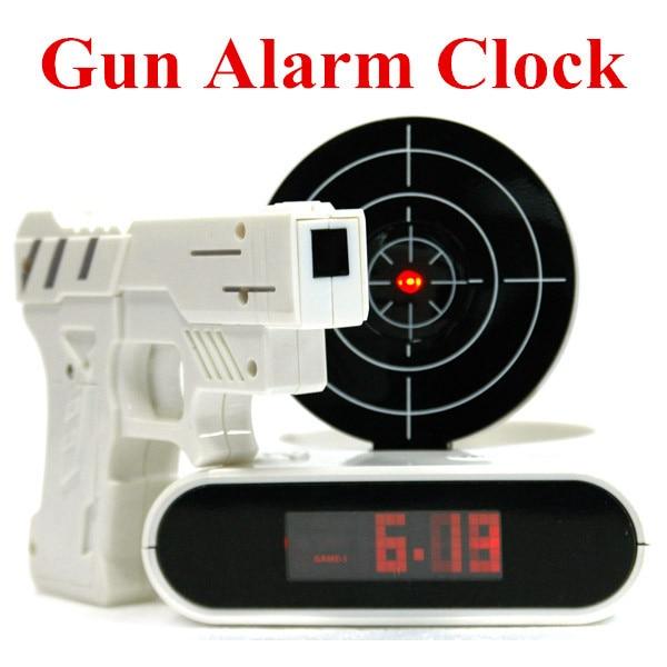 gun alarm clock cool tech gadget lcd digital alarm clock creative home decor free shipping