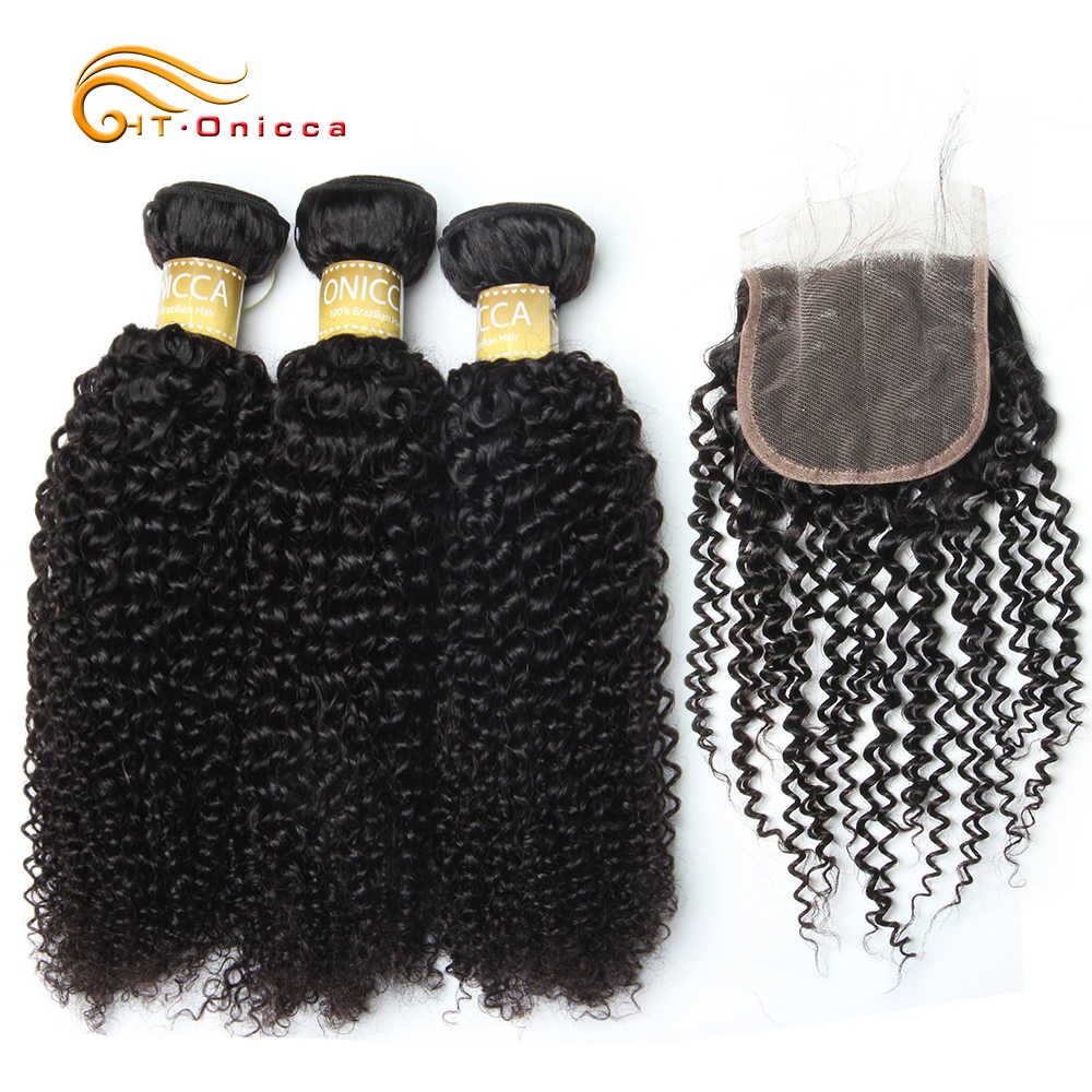 Htonicca Malaysian Hair Bundles With Closure Kinky Curly Bundles With Closure Remy Human Hair Bundles With Closure