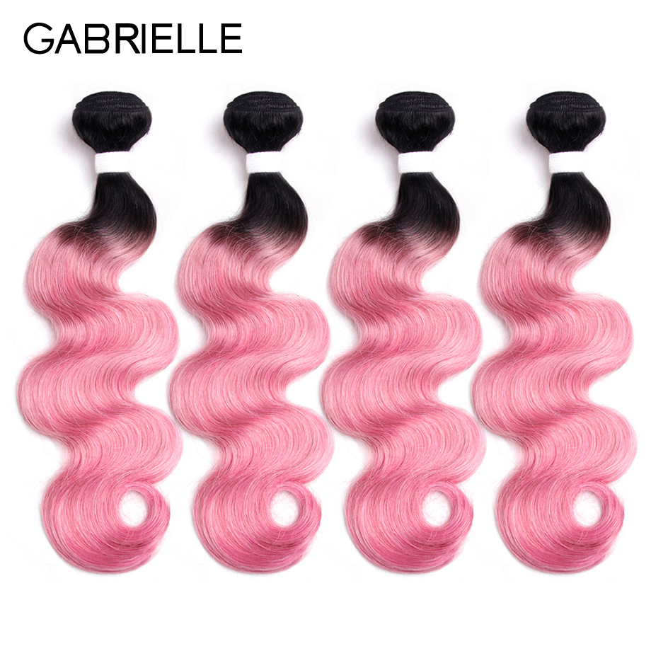 Gabrielle Brazilian Human Hair Bundles Body Wave 4pcs/lot OT Rose Pink Non Remy Ombre Two Tone Hair Weaves 10-18 inch