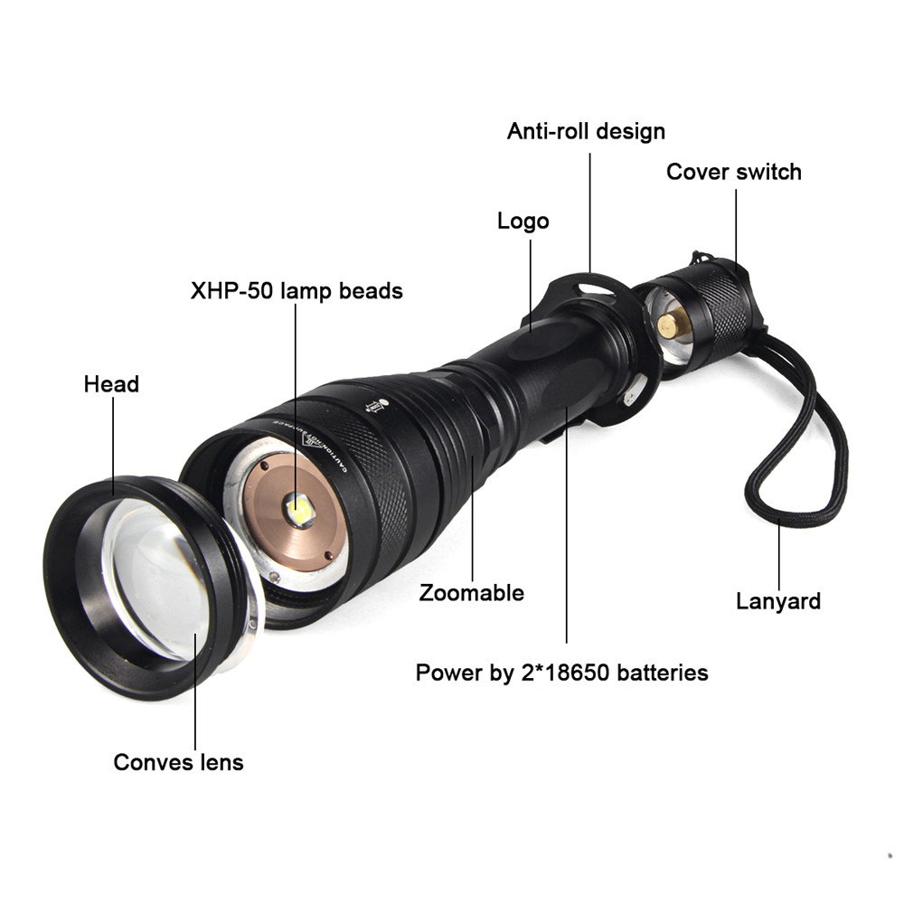 Super bright P55 1800Lumens CREE XHP50 5 mode Outdoor Zoom Spotlight Torch Hunting Tactics LED High Power Use 18650 Flashlight in Flashlights Torches from Lights Lighting