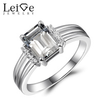 Leige Jewelry Natural White Topaz Rings For Women Silver 925 White Gemstone Fine Jewelry Engagement Promise