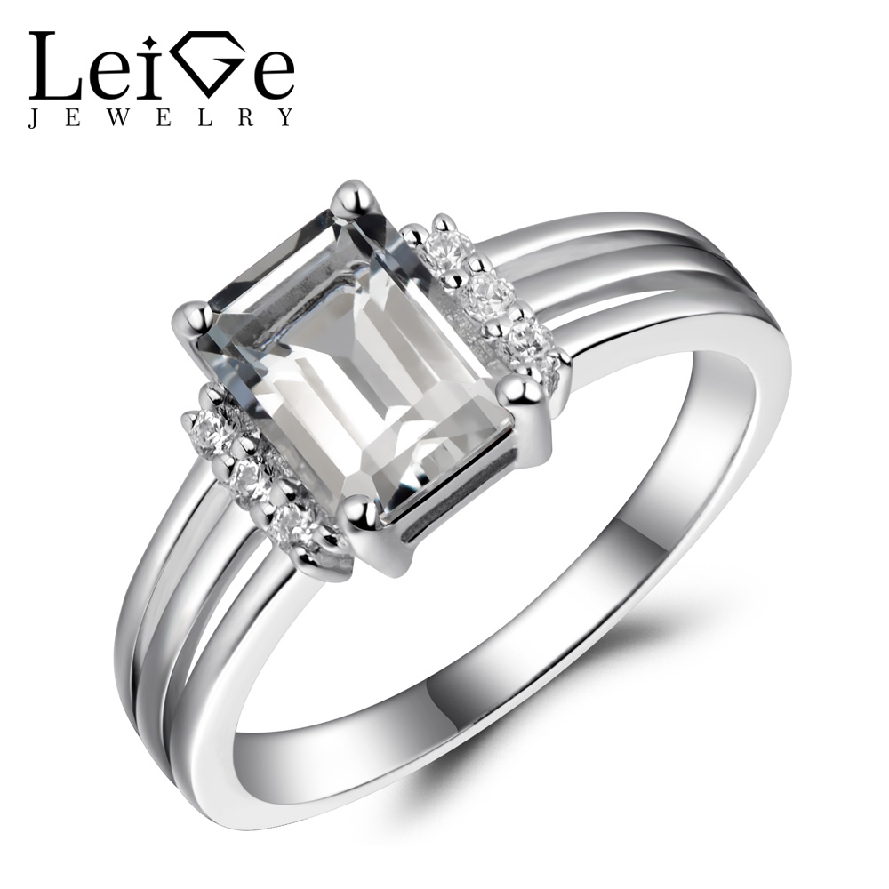 Leige Jewelry Natural White Topaz Rings for Women Silver 925 White Gemstone Fine Jewelry Engagement Promise Rings Emerald CutLeige Jewelry Natural White Topaz Rings for Women Silver 925 White Gemstone Fine Jewelry Engagement Promise Rings Emerald Cut