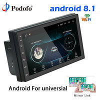 Podofo 2din Android 8.1 Universal Car Radio GPS Navigation wifi Bluetooth Touchscreen Audio Stereo FM USB Multimedia MP5 Player