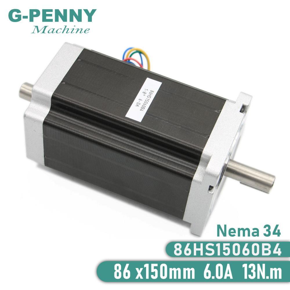 NEMA 34 Double arbre CNC moteur pas à pas 86X150mm 12 N. m 6A nema34 moteur pas à pas 1700Oz-in pour CNC machine de gravure imprimante 3D