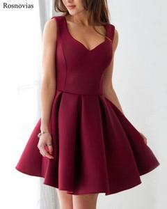 Image 4 - 부르고뉴 짧은 댄스 파티 드레스 2020 v 넥 사이드 지퍼 무릎 길이 동창회 파티 드레스 vestido de fiesta cheap customized