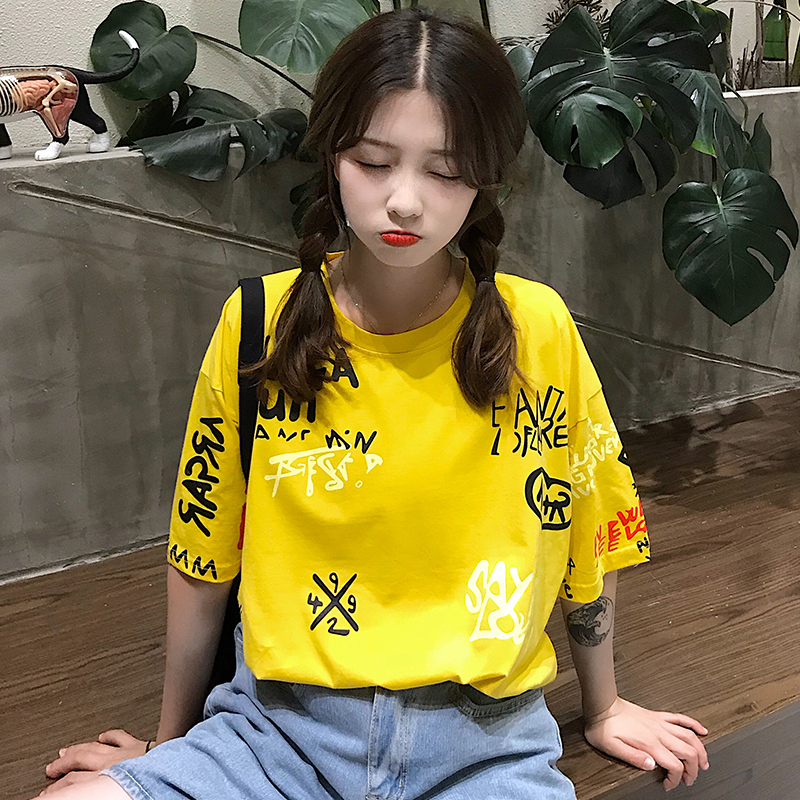 T-shirts Women Graffiti BF European Style Loose Harajuku Hip Hop Streetwear Chic Couple Clothes Unisex Daily Tshirt Womens Soft 71