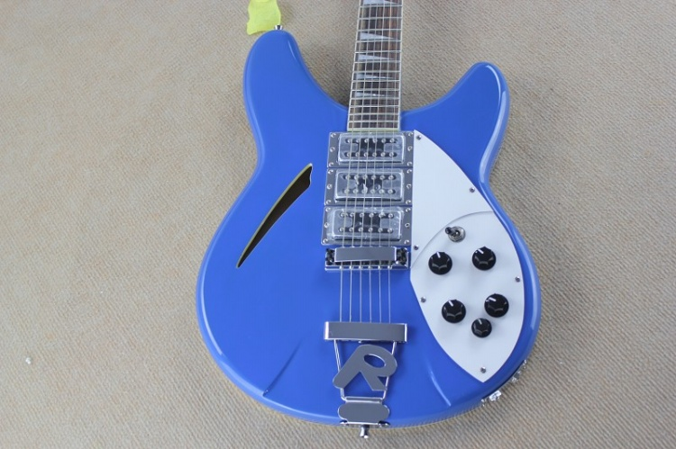 blue rickenback 360 semi hollow body 6 strings jazz electric guitar with 2 output jacks mono & stereo 330 ricken guitar
