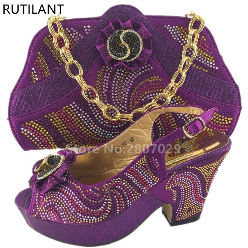 f3121799 Púrpura Italia Zapatos Appliques Italianos Con T Mujeres Conjunto rojo Bolsa  Bolso Zapato oro La Africanas púrpura Juego A Color Decorado ...